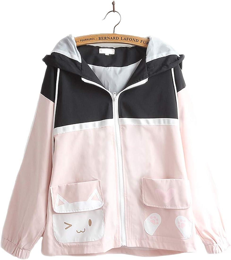 Damen-Kawaii-Jacke, süße Katze, Tasche, farblich passender Kapuzenpullover mit japanischem Aufdruck, langärmelig, Reißverschluss Schwarz