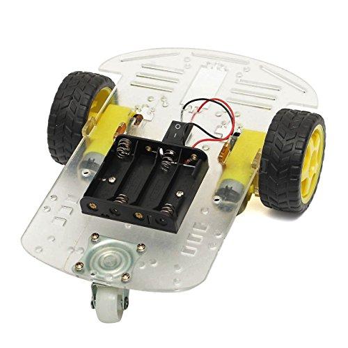 SODIAL Caja de nuevo 2WD motor inteligente del robot del chasis del coche de bateria codificador de la velocidad para Arduino