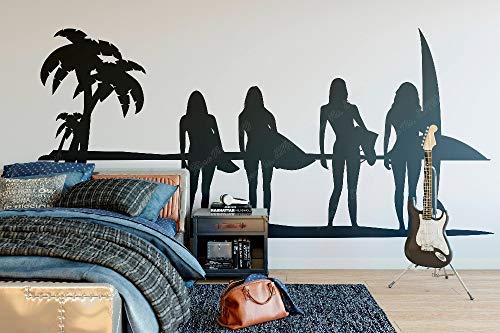 yaonuli Surfer Aufkleber Wandtattoo Schlafzimmer Aufkleber Schlafzimmer Wohnzimmer Dekoration abnehmbare Vinyl Wandaufkleber 85X39cm