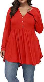 Allegrace Women's Plus Size Henley V Neck Button Tunic...