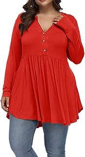Allegrace Women's Plus Size Henley V Neck Button Tunic...