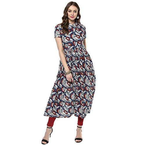 Indian Virasat Floral printed front slit kurta