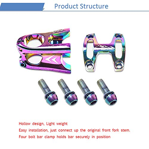 KRSEC 31.8 50mm Short Stem XC/MTB Bike Bicycle Parts Handlebar Stem CNC Hollow (Rainbow)