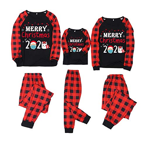 Weihnachten Familie Pyjama Set Lange Ärmel Bluse + Plaid Hosen Xmas Pyjamas Elchdruck Schlafanzüge Outfit Set Homewear Set Fun-Nachtwäsche Geschenk für Damen Herren Kinder