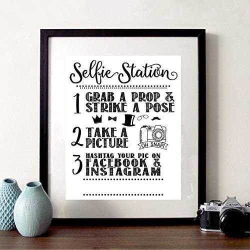 NSRJDSYT Selfie Station Sign Print Share Your Pic on Social Media Facebook Instagram Hashtag Canvas Painting Take a Selfie Po Poster-50x70cm Frameless