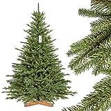 FairyTrees Arbre de Noël Artificiel Sapin de Bavière Premium PU, Socle en Bois, 180cm, FT23-180