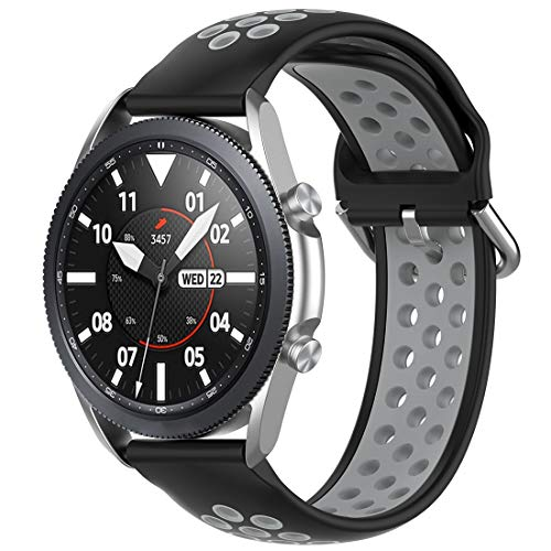 Disscool Mix Color Correa para Samsung Galaxy Watch 3 (45 mm-R840)/ticwatch Pro 2020, esta correa también se ajusta a otras correas de reloj de 22 mm de ancho (negro + Gay)