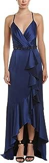 Adrianna Papell Womens Cascade Ruffle Satin High-Low Slip Gown
