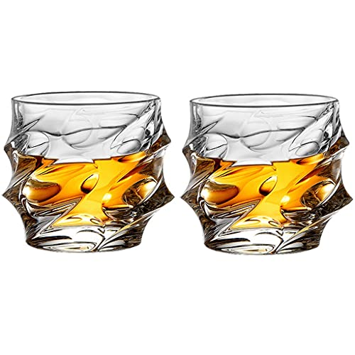 Vaso De Whisky De Sarga Vasos De Whisky De Cristal Clásico 12 Oz (Juego De 2) Cócteles Escoceses Bourbon Y Antiguos (Color : Clear, Size : 9×9.5cm)
