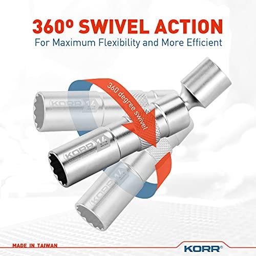 Norske Tools KSI004 KORR 14mm Thin Wall Magnetic 3/8-Inch Drive 12-Point Swivel Spark Plug Socket