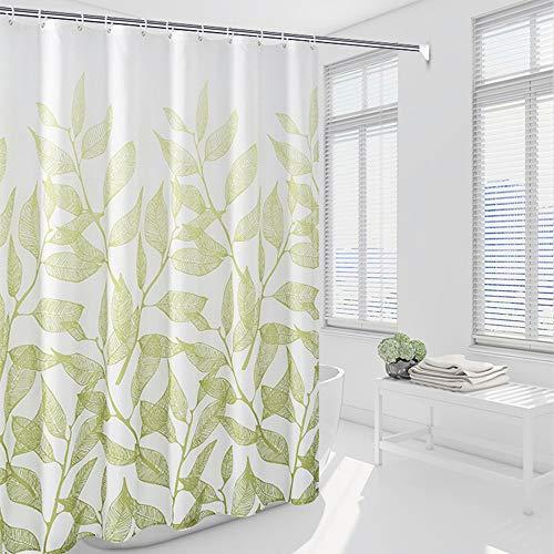 Alumuk Duschvorhäng, Duschvorhang Anti-Schimmel Badewanne Vorhang aus Polyester Wasserabweisend Shower Curtain Anti-Bakteriell mit 12 Duschvorhangringen (Frische Zweige, 180 x 200 cm)