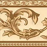 Dundee Deco BD3208 Tapeten-Bordüre Kaffee mit cremefarbenen, grauen und grünen Ranken, beige, Damast-Bordüre, Retro-Design, 10 m x 10 cm 10 m x 10 cm, selbstklebend