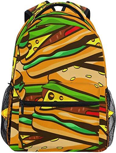 WKLNM Leuke Rugzak Cartoon Voedsel Hamburger Patroon Casual Daypack Rugzak School Tassen voor Student Girls Jongens