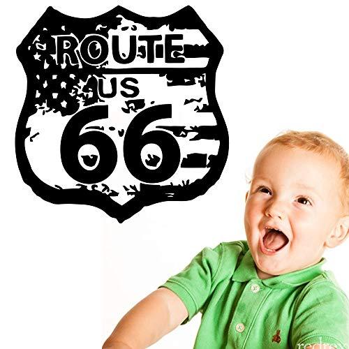 Verkeersbord Amerikaanse vlag retro muur grafische sticker sticker vinyl muurschildering slaapkamer kamer huisdecoratie verlaten 57x57cm
