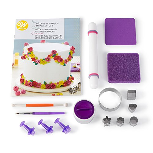 Wilton How to Decorate with Fondant Shapes and Cut-Outs Kit - 14-Piece Cake Decorating Kit with 3 Fondant Cutouts, Fondant Shaping Set, Roller, Dusting Pouch, 6 Cutters, Video Tutorial