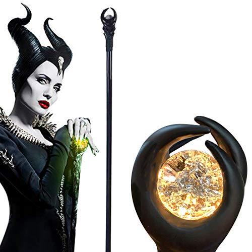 Maleficent Stab mit grün/orangefarbener Lichtkugel, Zauberer, Zepter, Zauberstab, Halloween-Requisite, 129,5 cm