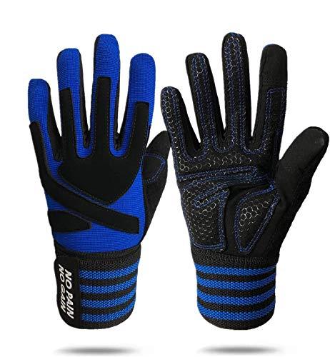 Guantes de fitness largos para hombre y mujer, guantes de entrenamiento con dedos completos, para levantamiento de pesas, culturismo, gimnasio, entrenamiento de fuerza, remo, ciclismo (azul, S)