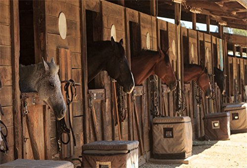 Laeacco Stable Backdrop 7x5ft Vinyl Photography Background Stud-Farm Horses Scene Backdrop Farm Country Village Rustic Rural Theme Background Cowboy Portrait Background Prop Photo Shooting Stand