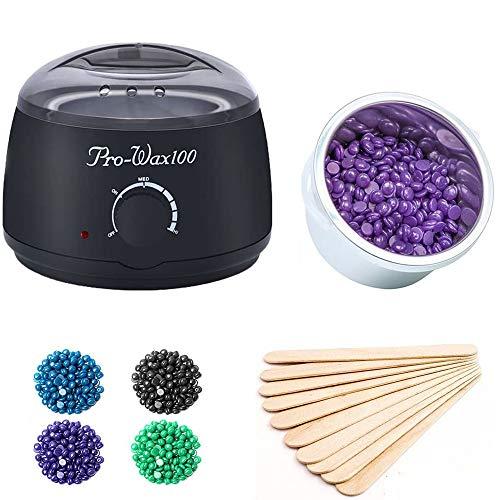 Wax Warmer,BYBO Wachswärmer Wax Warmer Heisswachs Haarentfernung Wachserhitzer Waxing Kit Wachsgerät mit Thermostat 80℃- 110℃ Behälter 500ml mit 4 verschiedene Aromen Bean + 50 pcs Holzspatel-Schwarz