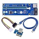 6 Pin PCI-e 1x auf 16x leistungsfähige Riser-Karte, mit 0,6m USB 3.0 Verlängerungskabel und Molex SATA 6PIN Netzkabel - Riser Card Adapter Extender GPU - Ethereum Mining ETH Black