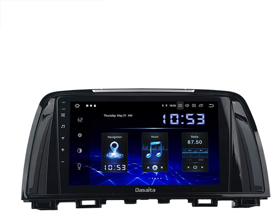 Dasaita 9 inch Large Screen Single Din Android 10.0 Car Stereo for Mazda Atenza 6 2013 2014 2015 2016 Radio with GPS Navigation 4G Ram 64G ROM Built in DSP Dash Kit GPS Meomery Card