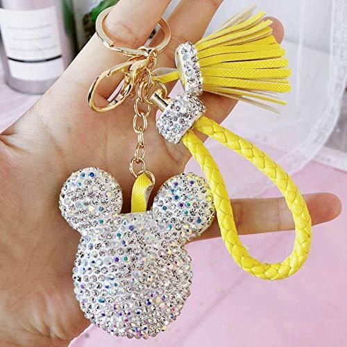 Yanxinejoy Sleutelhanger voor in de auto, met diamanten, schattige sleutelhanger van gevlochten roestvrij staal, accessoires voor handtassen A1.