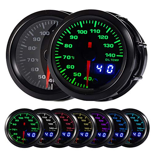 HOTSYSTEM 7 Color Oil Temperature Gauge Kit 40-140 Celsius Pointer & LED Digital Readouts 2-1/16
