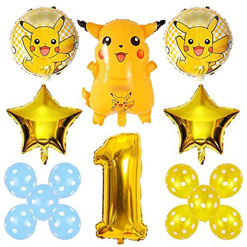 Ksopsdey Feuille Ballon Pokemon Ballons Décoration De Fête Thème Anniversaire 1 an Garcon baudruche Latex Ballon Fête Pikachu Kit Enfants Décoration de Fête d'anniversaire, 16 Pièces