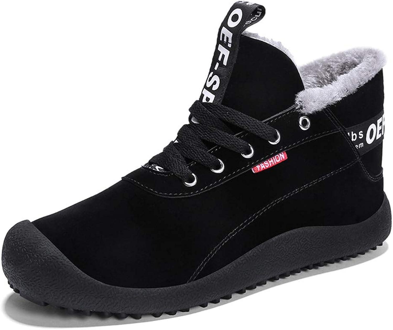 ZHRUI Mens Snow Boots Non Slip Fur Lined Soft Sole Breathable Winter Durable Boots (color   Black, Size   UK 7)