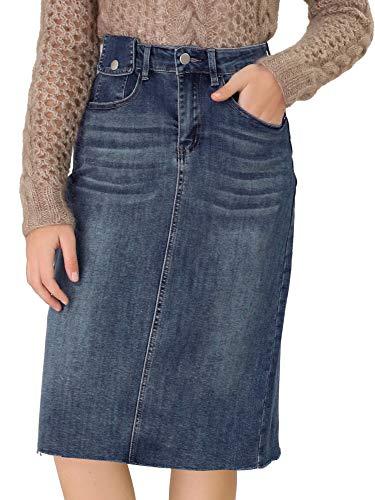 Allegra K Falda Vaquera Casual Cintura Alta Abertura Trasera Falda De Mezclilla Corta para Mujer Azul M
