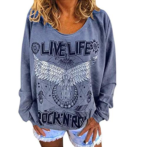 Yutila Damen Sweatshirt LIVE Life Rock ROLL Brief Druck Langarm Pullover Loose Oversize Oberteile