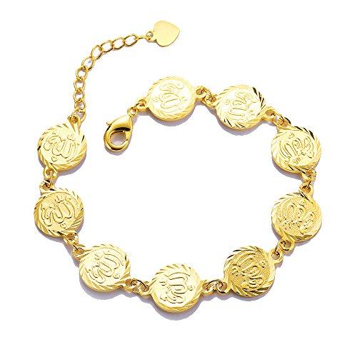 Religiöse Schmuck Damen Islam Muslim Allah Armband Islamische Muslimische Koran Münze Rund Charme Armbänder Verstellbare Kette