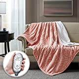 Hyde Lane Sherpa Heated Blanket - Diamond Blush | Luxury 60x70 Oversized Plush Therapedic Electric Throw | Extra Cozy & Soft | 3 Heat Settings | Automatic - Shut Off | Machine Washable