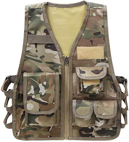 Kinder Unisex Outdoor Weste Jacke Top mit Multi-Pocket-Tarnung Taktische Weste aus Nylon Kostüm für die Jagd Camping Spiel schwarz unter 7 Jahren-Unter 7 Jahre_Hell Camouflage