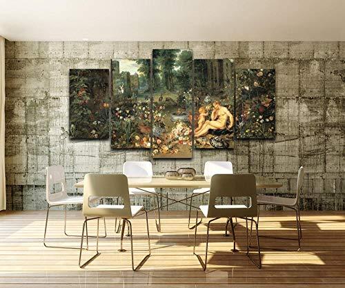 rkmaster Canvas Muurschildering abstracte fotowand modulair beeld 5 panelen klassieke tuindecoratie frame HD poster schilderij woonkamer huishoudtextiel vliesstof