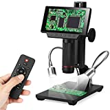 Koolertron 5 inch LCD 1080P Digital Microscope Wireless Remote Control Up to 560x Magnification with Adjustable Stand, USB/HDMI/AV Output Camera Video Recorder with 8 LED Adjustable Light Source