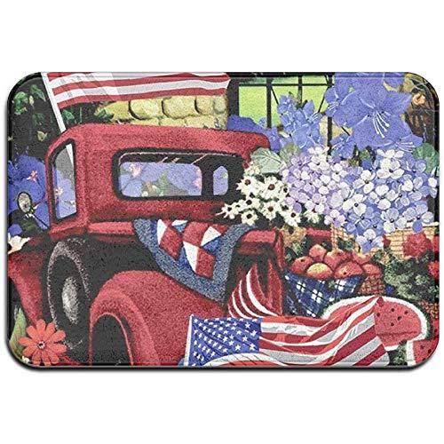 N/A 4 juli Patriotische oude rode vrachtwagen Outdoor rubbermat front van Mats Veranda Garage Slip Entry tapijt