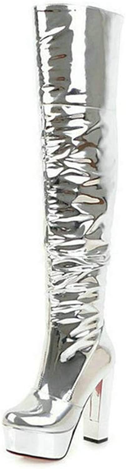 T-JULY Fashion Winter Women Over The Knee Boots Zipper Platform Sexy Silver Sequined Side Cloth Chunky High Heel shoes