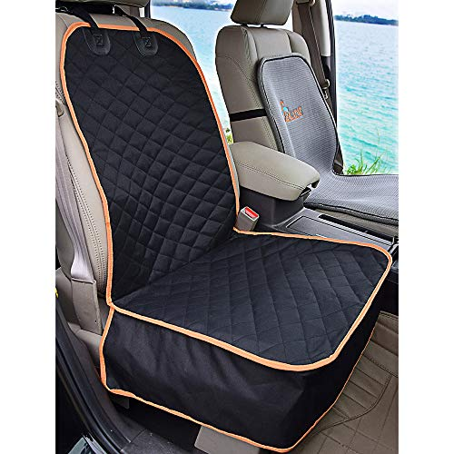 AMOCHIEN Dog Car Seat Covers, Waterproof & Scratch Proof & Nonslip Rubber Backing Quilted Passenger Pet Front Seat Protector for Car Road Trip, Fits Car, Truck & SUV