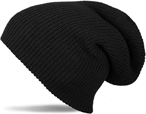 styleBREAKER Beanie Mütze, Slouch, Lange Strickmütze, doppelt gestrickt 04024004, Farbe:Schwarz