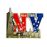Color May Vary. Bold NY Letter Shape New York Souvenir Metal Fridge NY Magnet - Brooklyn Bridge,Statue of Liberty,Empire State Building, NYC Skyline Metal Magnet (Pack 1)