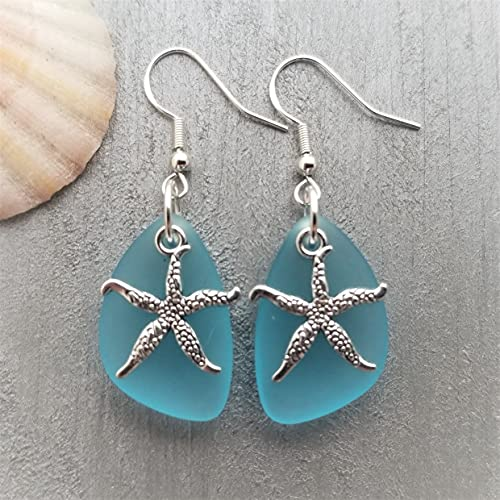 Handmade in Hawaii, updated version,'Twin Starfish' Turquoise Bay Blue sea glass earrings,'December Birthstone', (Hawaii Gift Wrapped, Mother's Day Gift)