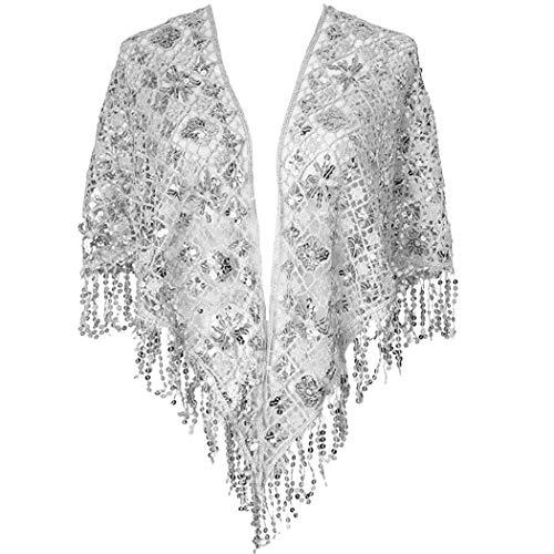 L'VOW Damen Glitzer Gatsby 1920 Umschlagtücher Wickelt Pailletten Perlen Abend Schal Stola Flapper Kostüm Bolero (Silber)