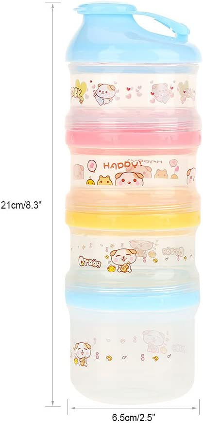 Milk Powder Formula Dispenser 4 Layers Compartment Stackable Formula Milk Powder Dispenser for Travel Camping and Outdoor Activities Blue Lid
