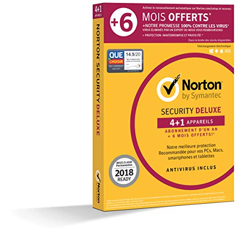Norton Security Deluxe 2019 | 4+1 Appareils | 1 an + 6 mois | PC/Mac/iOS/Android | Téléchargement