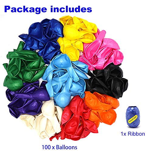 Premium 100 Balloons, Latex Party Helium Colored Balloons, 10 Assorted Colors 12 Inch Rainbow Colorful Balloons Bulk Pack for Birthday Parties Supplies and Arch Decoration