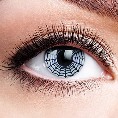 Farbige Kontaktlinsen ohne Stärke White Spider Schwarz Weiß Linsen Halloween Karneval Fasching Cosplay Anime Manga Schwarze Weiße Augen Crazy Screen Cyborg Cyber Eyes