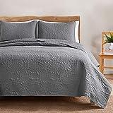 VEEYOO Bedspread Quilt Set Full/Queen Size - Soft Microfiber Lightweight Coverlet Quilt Set for All Season, Quilt Set 3 Piece (1 Quilt, 2 Pillow Shams), Grey