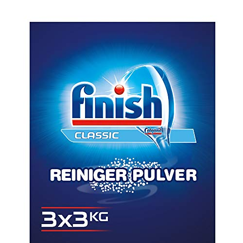 Finish Classic Reiniger-Pulver, phosphatfrei – Geschirrreiniger Pulver für ein glänzendes Spülergebnis – Großpackung mit 3 x 3 kg Geschirrspülmittel