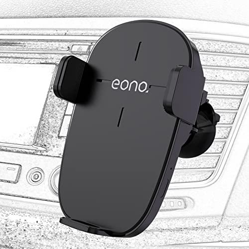 Amazon Brand - Eono C3 Cargador inalámbrico Coche con Sensor electromagnético, Qi-Certified 15W MAX Carga rápida Soporte móvil Coche Carga inalambrica Compatible con iPhone13/Samsung/Huawei(Negro)